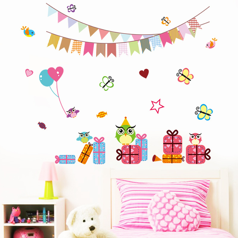 birthday decoration wallpaper ; Owls-Butterfly-Gift-Box-Wall-Stickers-for-Kids-Room-Nursery-Wall-Art-for-Birthday-Party-Decoration