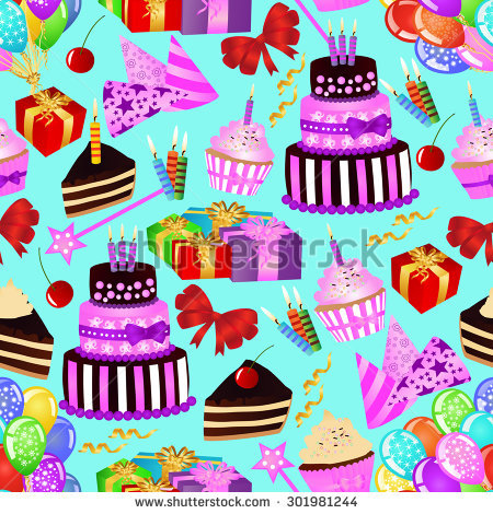 birthday decoration wallpaper ; stock-vector-birthday-seamless-pattern-with-birthday-cake-cupcake-balloons-gifts-on-blue-background-301981244