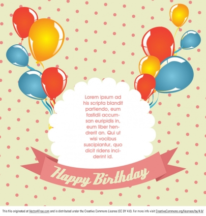 birthday design templates ; polkadots-pattern-birthday-card-template-use-for-background-colorful-balloons-circle-writing-slots