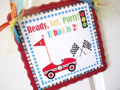 birthday door sign ; race_car_welcome_door_sign_for_boy_s_birthday_party_or_bedroom_9822c55c