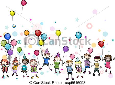 birthday drawing for kids ; birthday-party-drawings_csp5616093