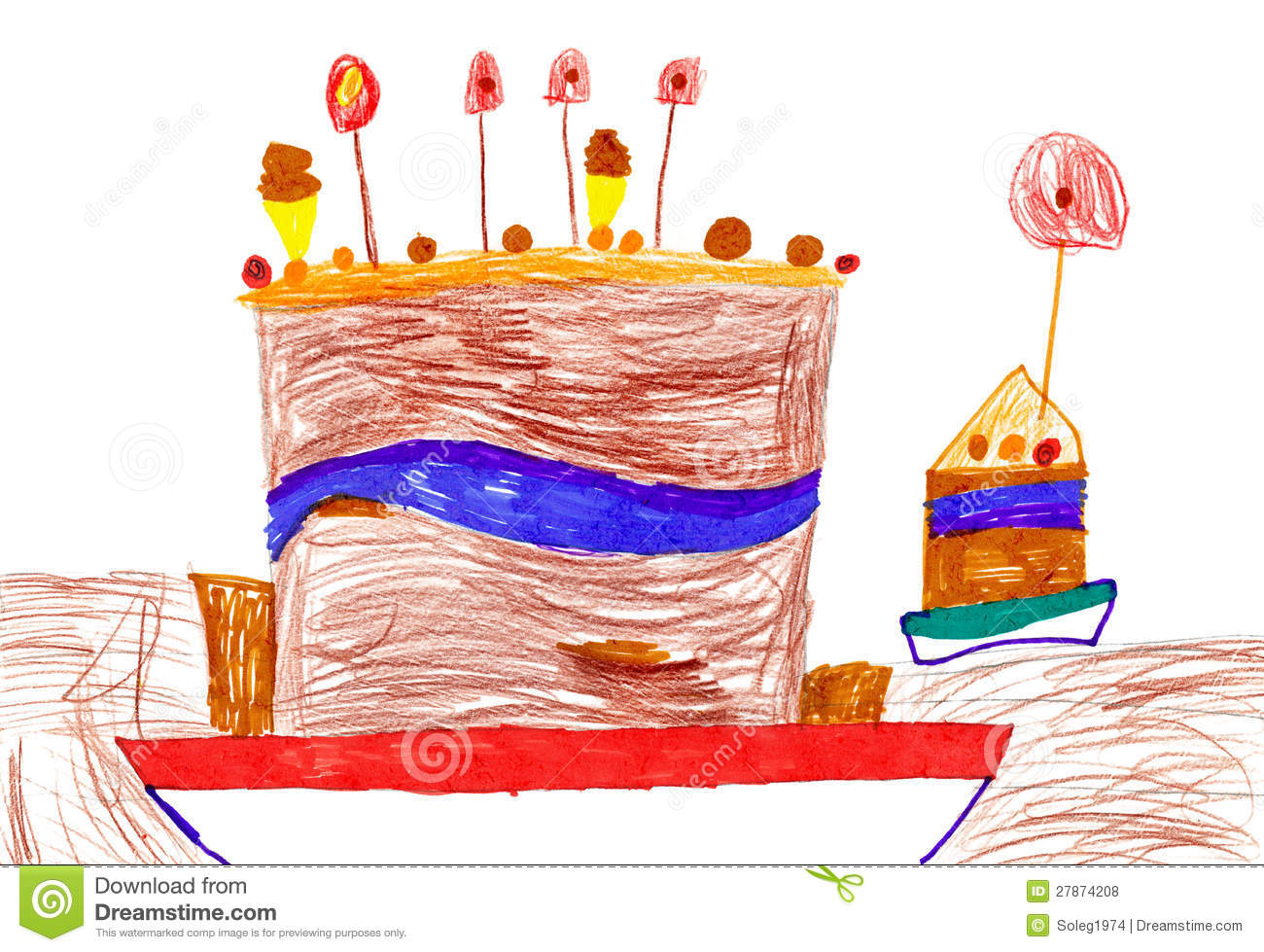 birthday drawing for kids ; childrens-drawing-big-cartoon-birthday-cake-27874208