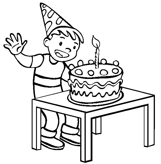 birthday drawing for kids ; happy-birthday-cake-with-single-candle-coloring-page-for-kids