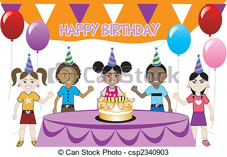 birthday drawing for kids ; kids-party-2-eps-vectors_csp2340903