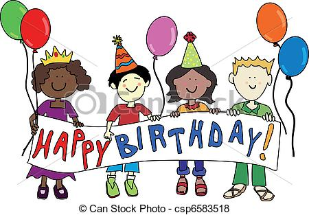 birthday drawing for kids ; multicultural-birthday-kids-eps-vector_csp6583518