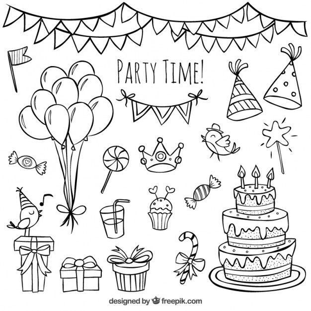 birthday drawing images ; hand-drawn-birthday-doodles_23-2147523902