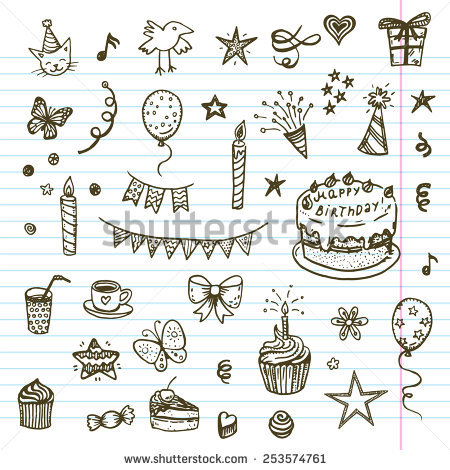 birthday drawing images ; stock-vector-birthday-elements-hand-drawn-set-with-birthday-cake-balloons-gift-and-festive-attributes-253574761