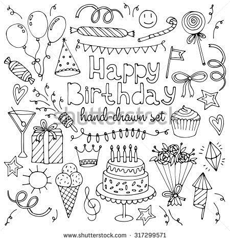birthday drawing images ; stock-vector-hand-drawn-happy-birthday-set-317299571