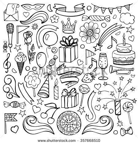 birthday drawing images ; stock-vector-set-with-hand-drawn-birthday-elements-vector-illustration-of-doodle-black-birthday-elements-357668510