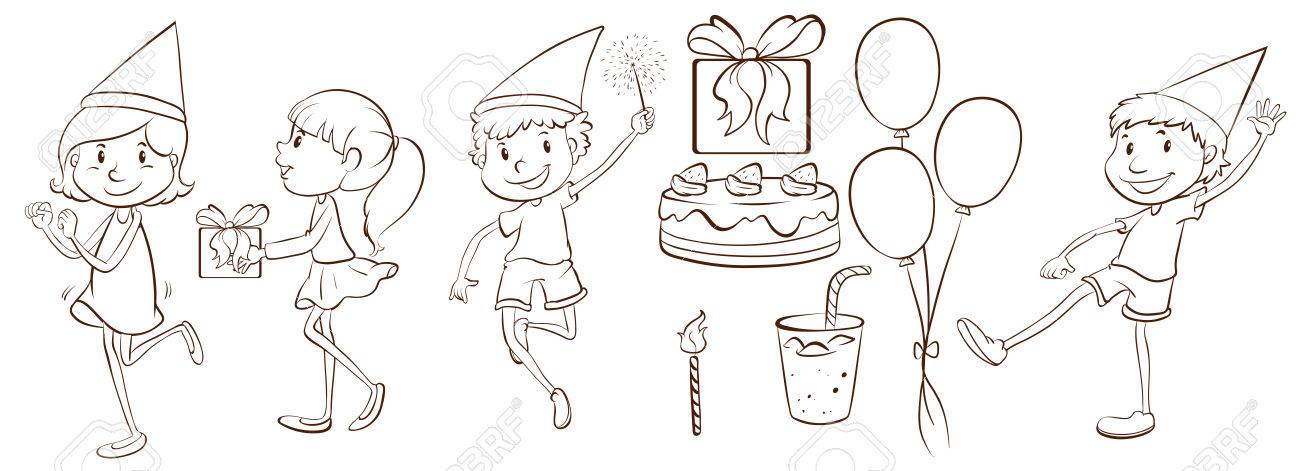 birthday drawing pictures ; 34420595-plain-drawing-of-the-people-celebrating-a-birthday-on-a-white-background-Stock-Photo