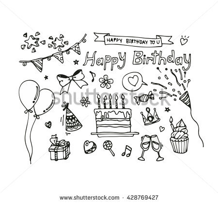 birthday drawing pictures ; stock-vector-vector-set-of-hand-draw-birthday-icon-428769427