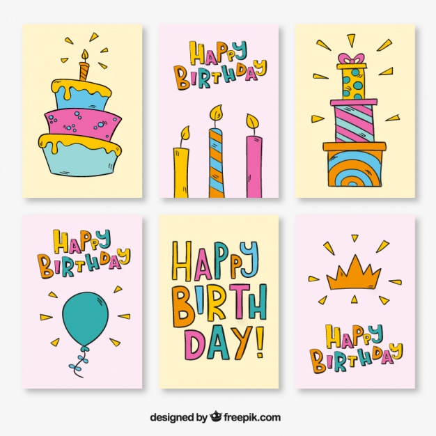birthday drawings ; collection-of-birthday-cards-with-drawings_23-2147597324