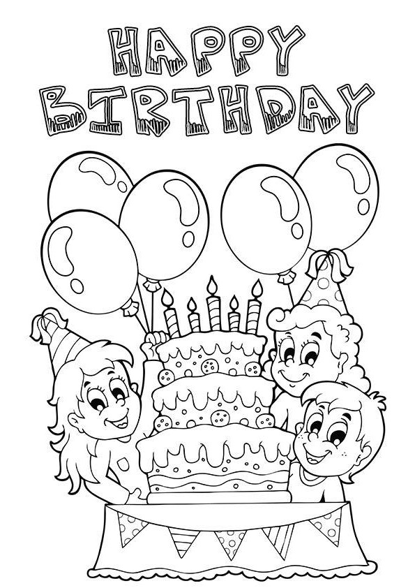 birthday drawings for friends ; black-and-white-birthday-clip-art-with-friends-print