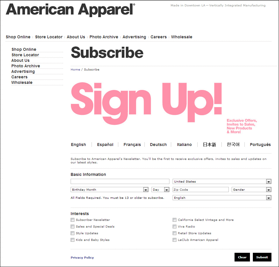 birthday email sign up ; AmericanApparel_signup_page