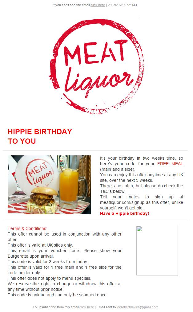 birthday email sign up ; meat-liquor-birthday