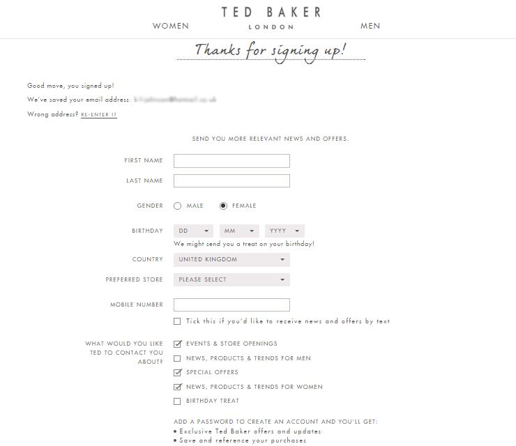 birthday email sign up ; ted-baker-form