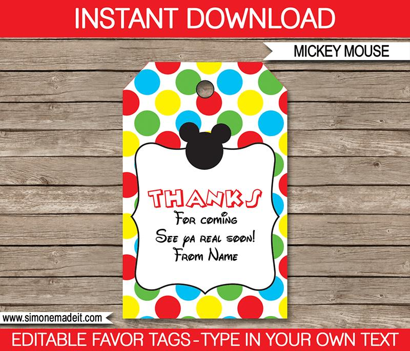 birthday favor labels ; Mickey-Mouse-Party-Favor-Tags2