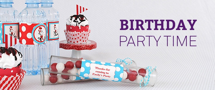 birthday favor labels ; birthday-party-time