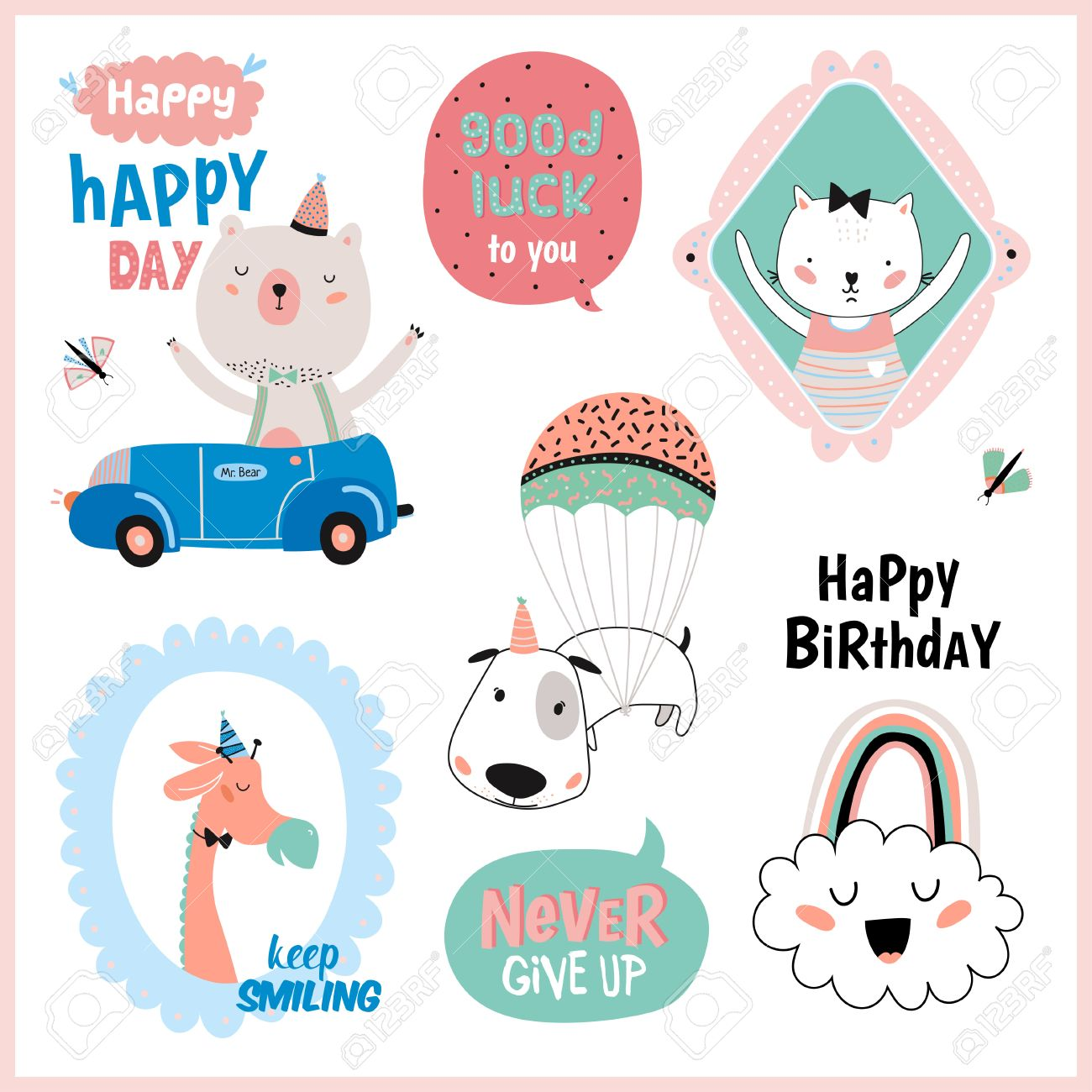 birthday favor tags template ; 62566850-set-of-birthday-cards-gift-tags-label-templates-and-stickers-with-funny-and-cute-animals-vector-isol