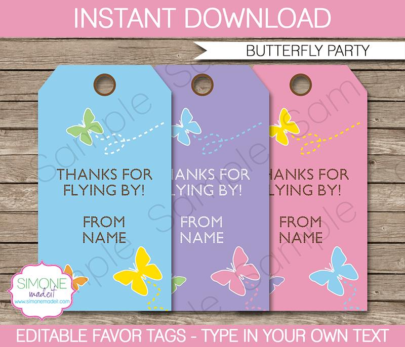 birthday favor tags template ; Butterfly-Party-favor-tags