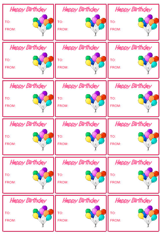 birthday favor tags template ; gift3b