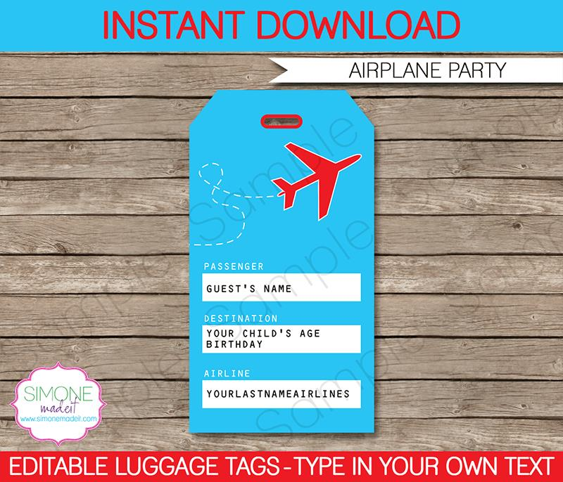 birthday favor tags template free ; Airplane-Party-Luggage-Tags