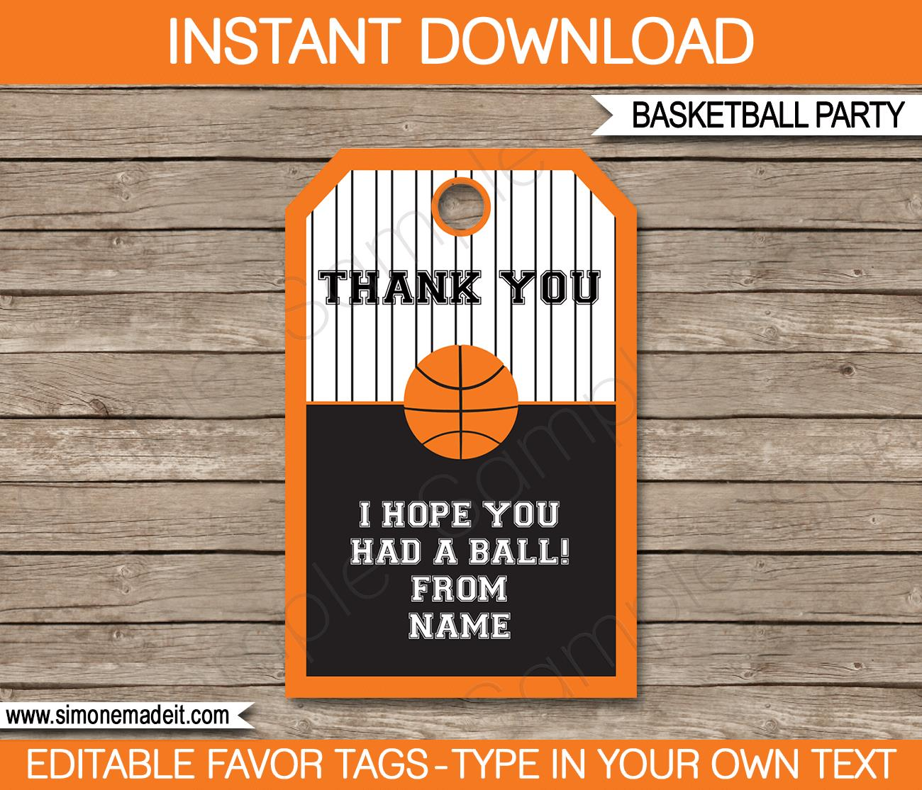 birthday favor tags template free ; Basketball