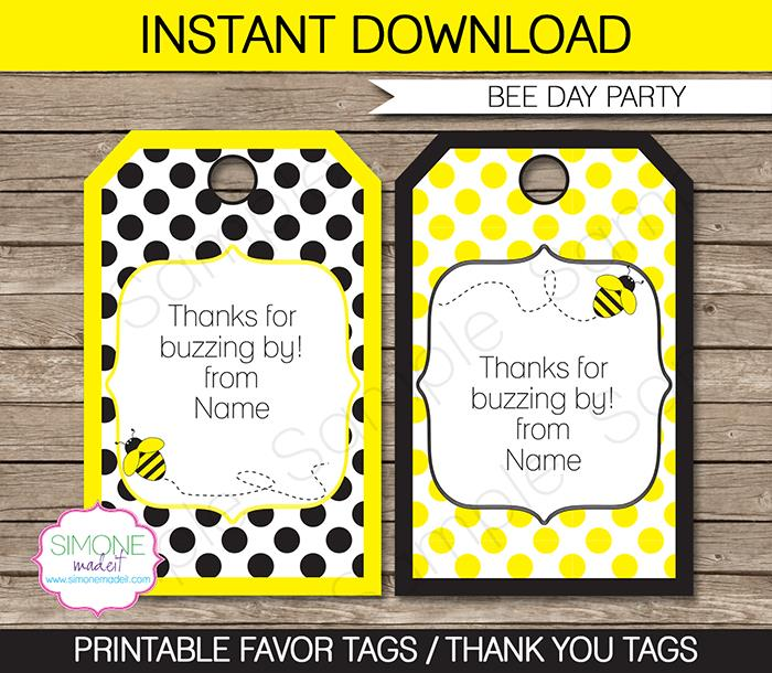 birthday favor tags template free ; Bee-800x696