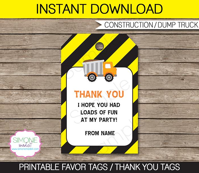 birthday favor tags template free ; Construction-800x696