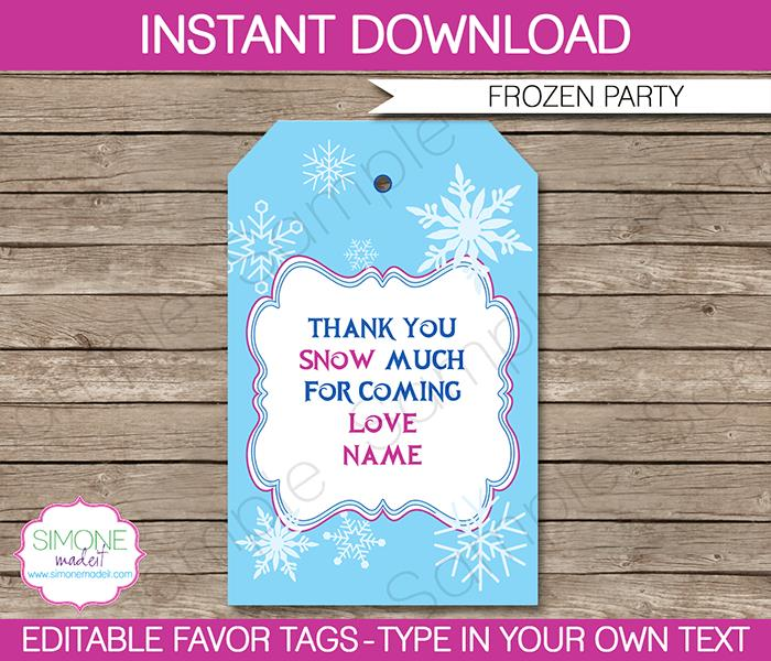 birthday favor tags template free ; Frozen-Party-Thank-You-Tags1