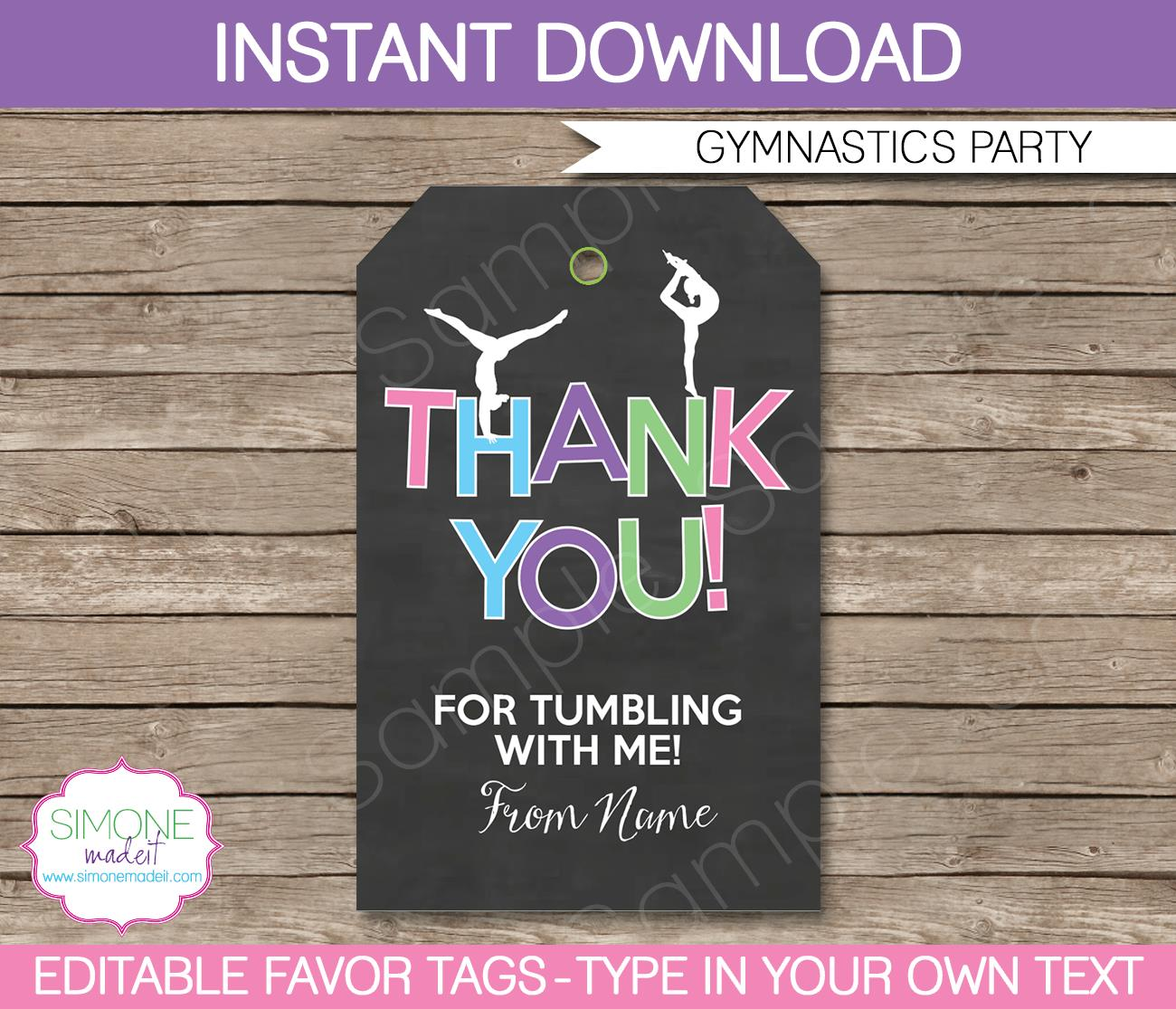 birthday favor tags template free ; Gymnastics-Party-Favor-Tags