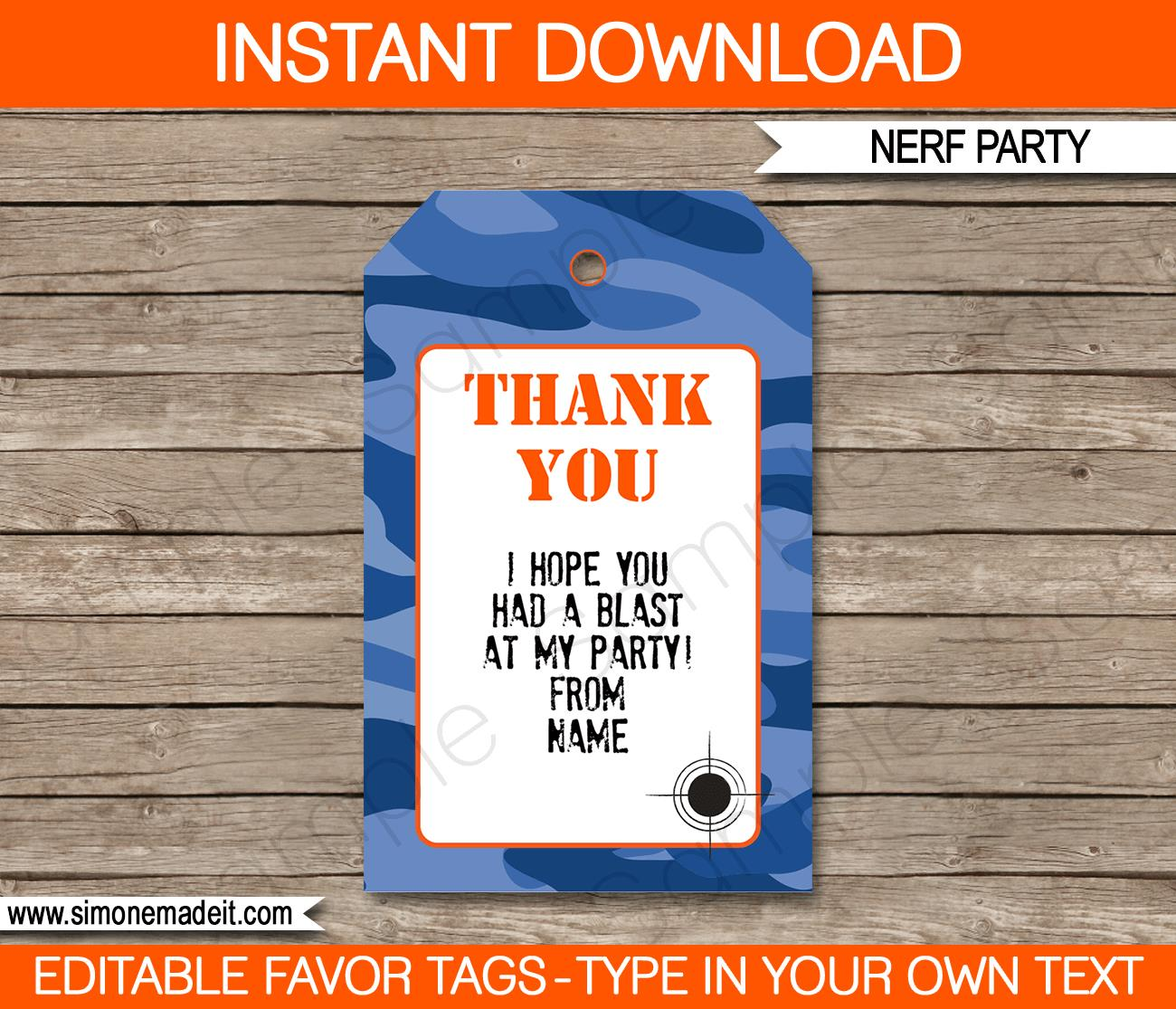 birthday favor tags template free ; Nerf-Party-Favor-Tags-template-blue-camo