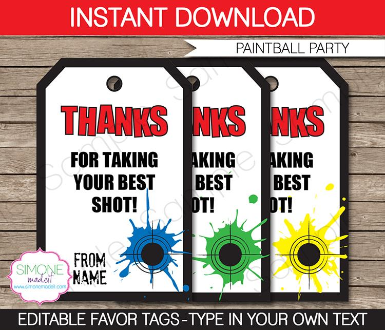 birthday favor tags template free ; Paintball-Party-Favor-Tags