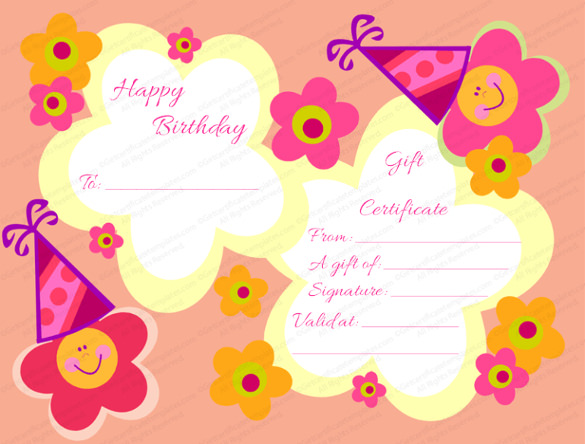 birthday favor tags template free ; Star-Flowers-Birthday-Gift-Certificate-Template-Download