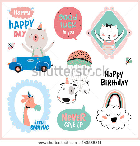 birthday favor tags template free ; stock-vector-set-of-birthday-cards-gift-tags-label-templates-and-stickers-with-funny-and-cute-animals-vector-443538811