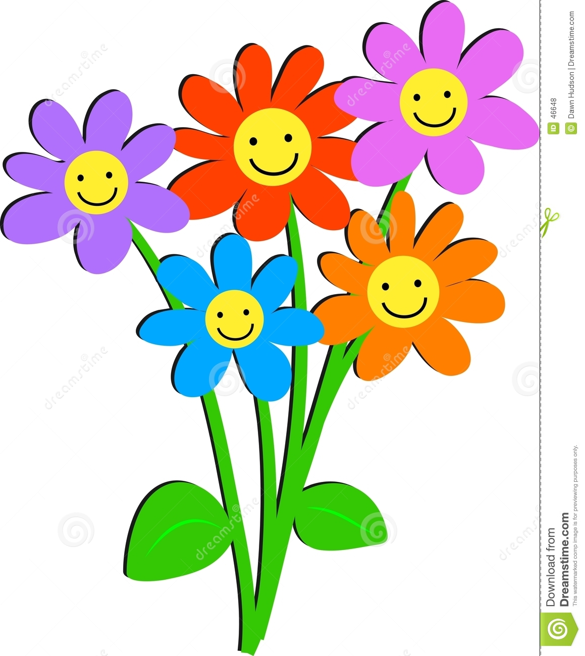 birthday flowers clipart ; smiley-face-flower-clipart-happy-flowers-46648
