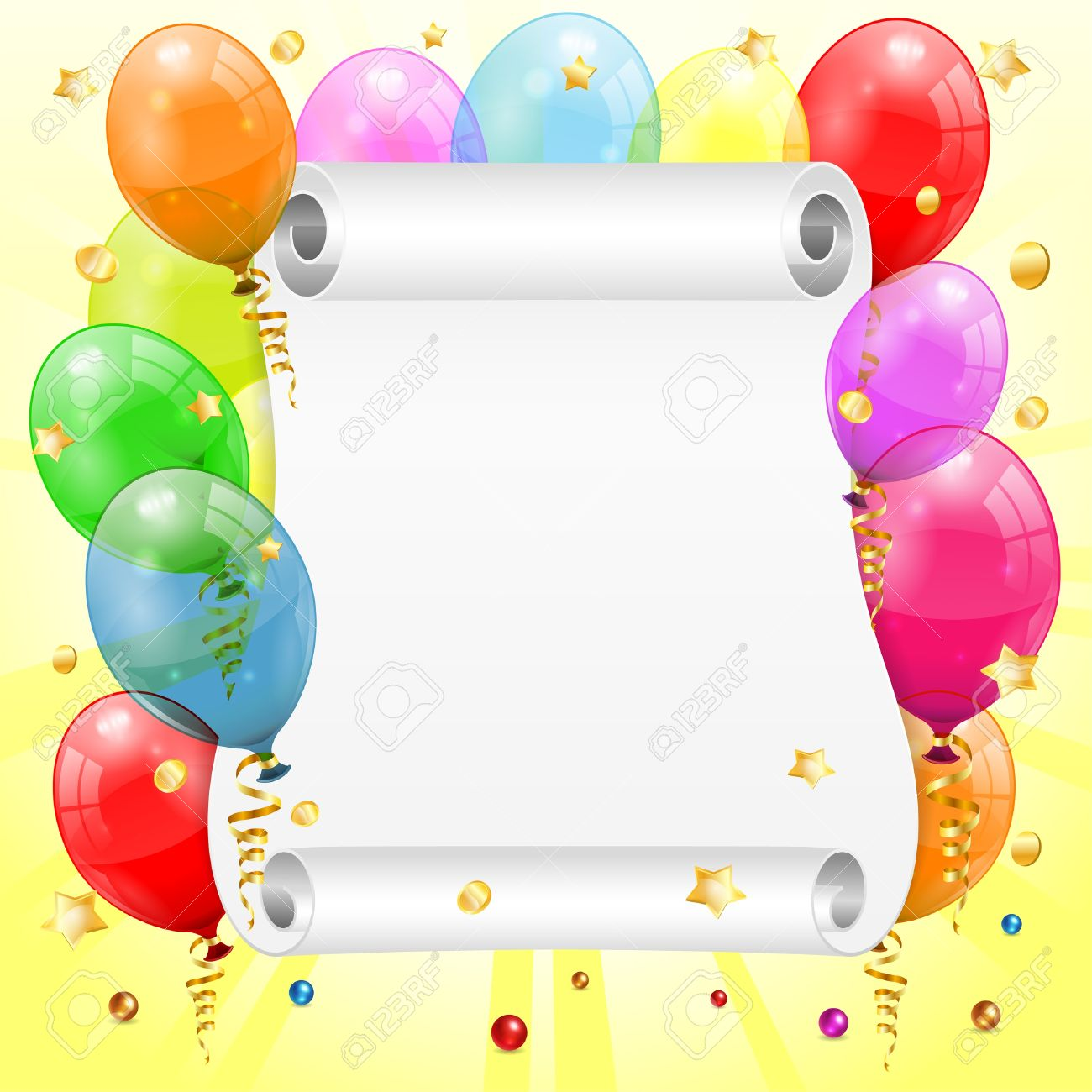 birthday frame clipart ; 18421738-birthday-frame-with-3d-transparent-birthday-balloons-scroll-paper-confetti-and-streamer--Stock-Photo