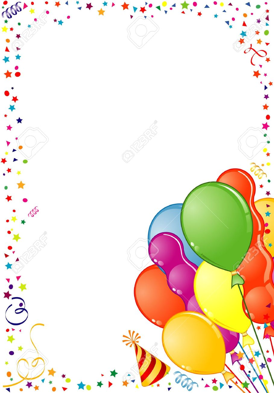 birthday frame clipart ; 7035430-birthday-frame-with-balloon-streamer-and-party-hat-element-for-design-illustration