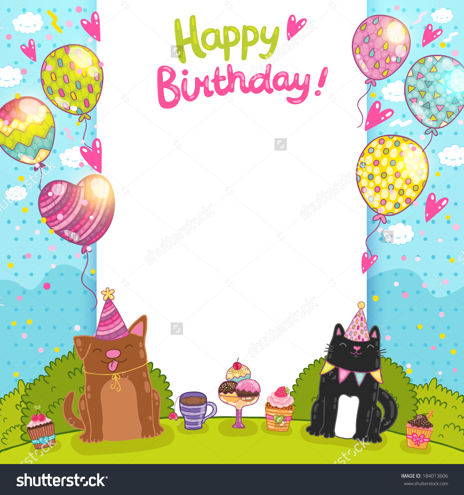 birthday frame clipart ; dog-and-cat-happy-birthday-clipart-4