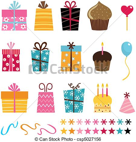 birthday gift drawing ; gift-set-clip-art-vector_csp5027156