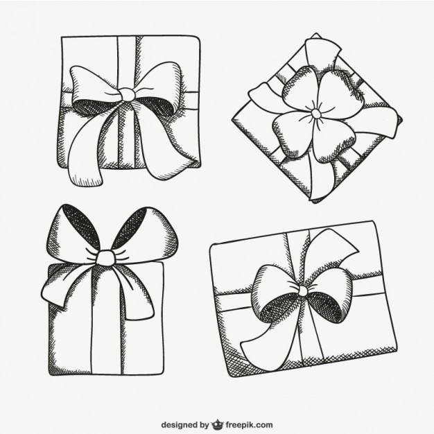 birthday gift drawing ; present-box-sketch-drawings_23-2147501044