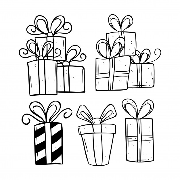 birthday gift drawing ; set-of-birthday-gift-using-doodle-art-or-hand-drawing-style_7130-263