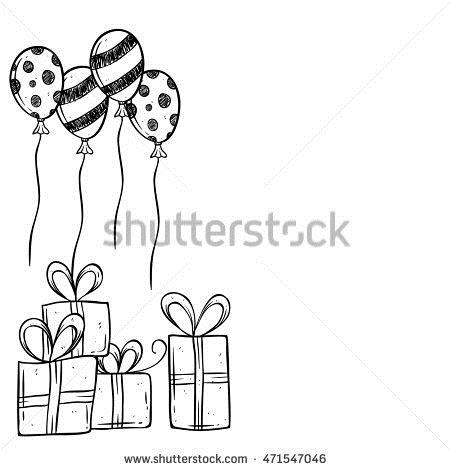 birthday gift drawing ; stock-vector-birthday-gift-and-balloon-using-hand-drawing-or-doodle-art-471547046