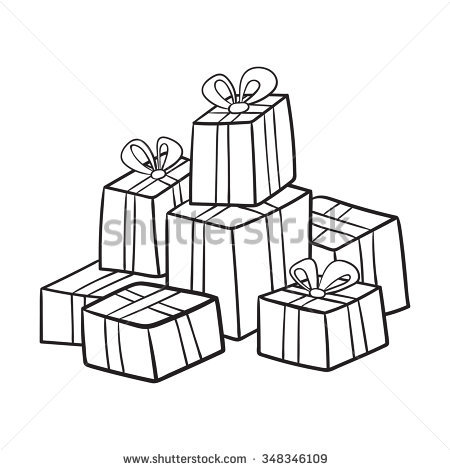 birthday gift drawing ; stock-vector-christmas-or-birthday-presents-collection-vector-illustration-of-cartoon-gifts-in-bag-isolated-on-348346109