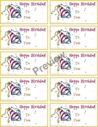 birthday gift labels ; party-hats-preview