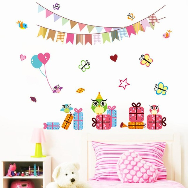 birthday gift stickers ; birthday-party-decor-wall-stickers-kids-gift-1023-home-decals-owls-cartoon-animal-colorful-flags-room