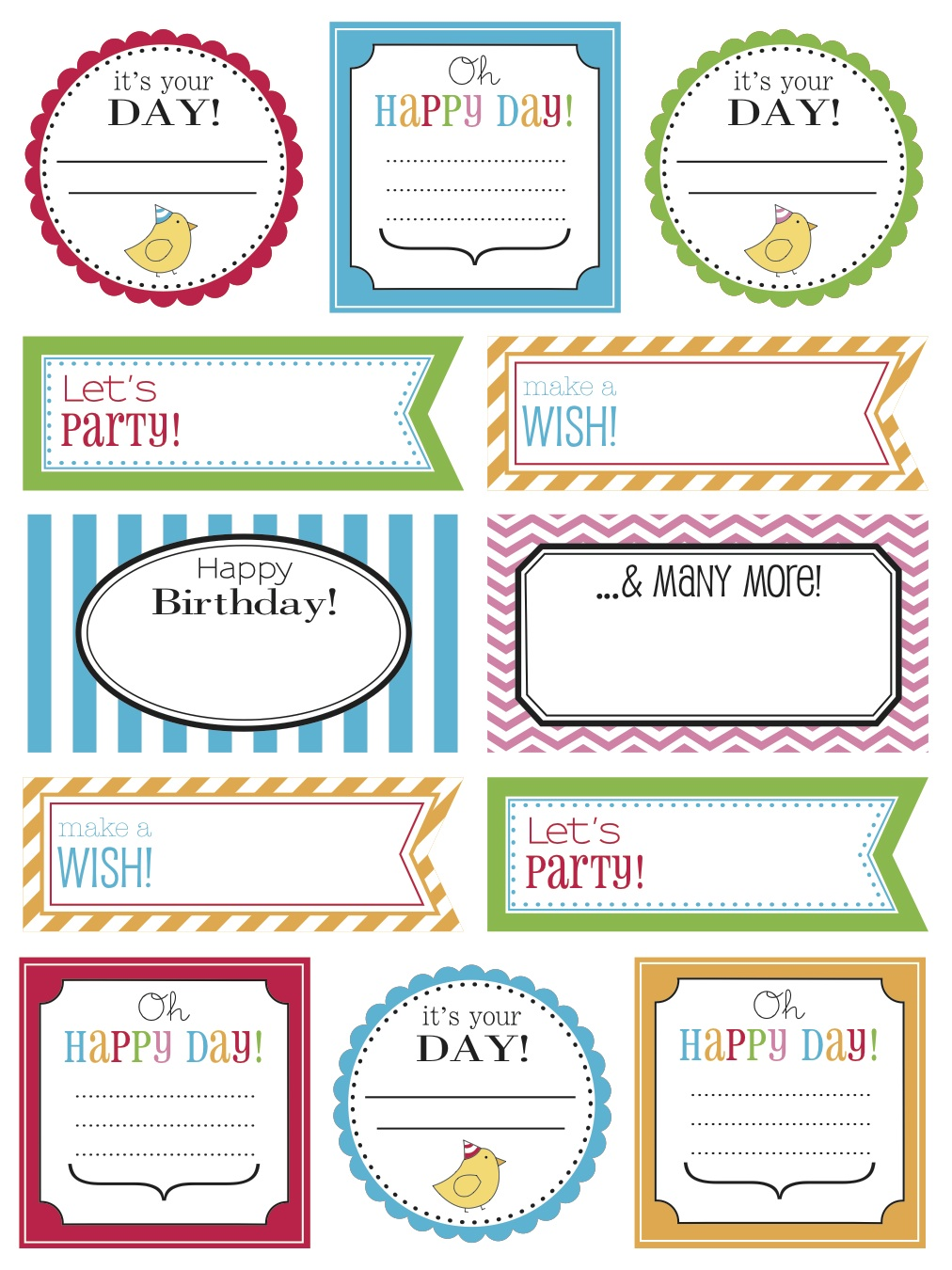 birthday gift stickers labels ; 63007