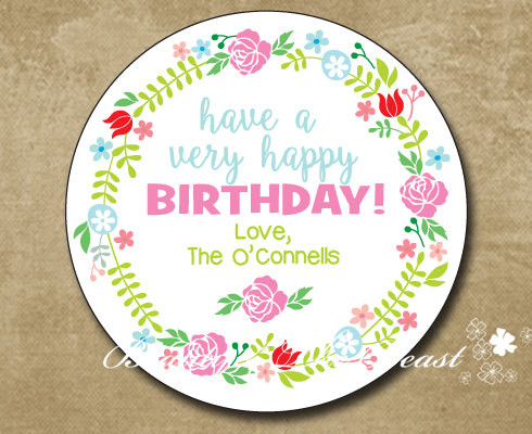 birthday gift tag stickers ; Personalized-Birthday-Gift-Sticker-Party-Favor-Bag-Labels-Flower-Gift-Tags-Birthday-Party-Decorations-kids-Party