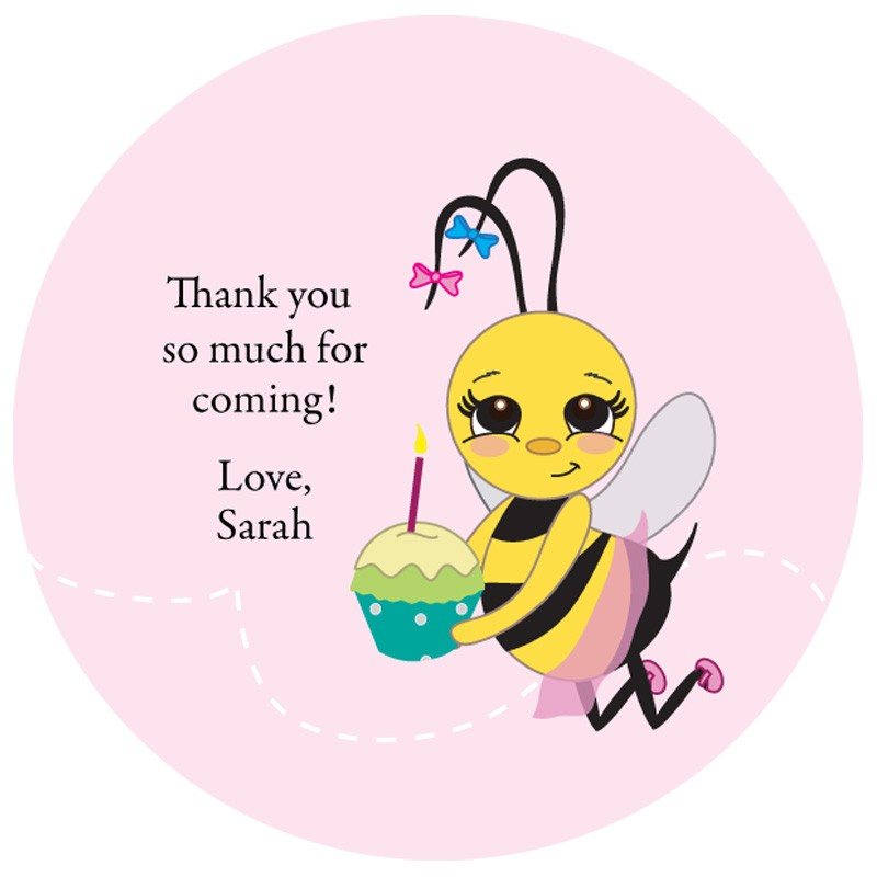 birthday gift tag stickers ; bumble-bee-birthday-custom-gift-tag-stickers_pink