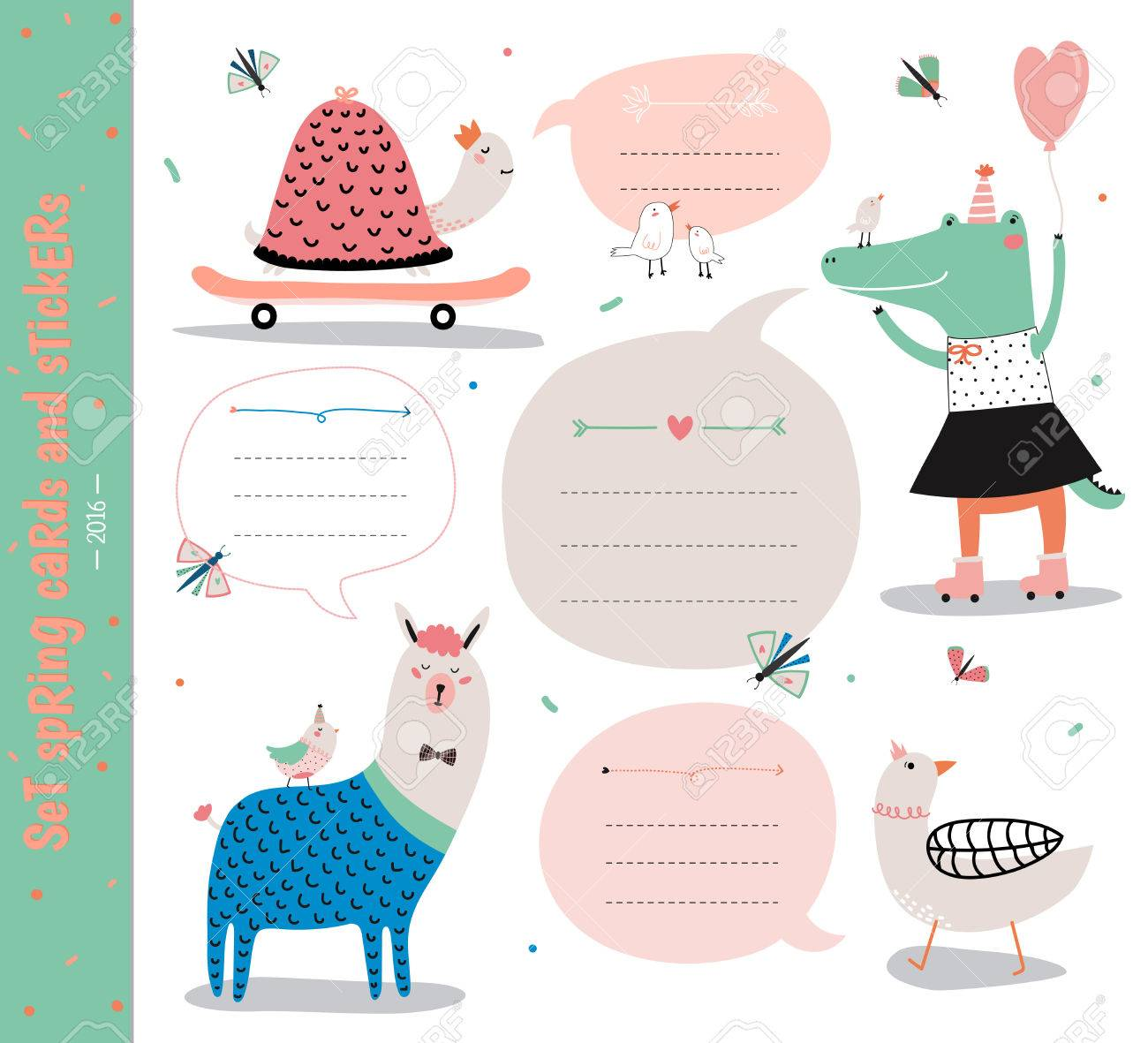 birthday gift tag template ; 58384891-set-of-birthday-cards-gift-tags-labels-templates-and-stickers-with-funny-kids-animals--Stock-Photo